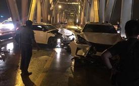"""Đi vào làn ô tô trên cầu Chương Dương, xe máy """"kẹp ba"""" va chạm với Lexus và Hyundai"""