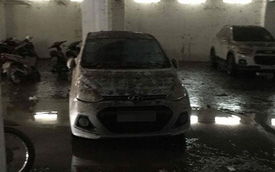 """Mưa lớn kéo dài tại Bà Rịa - Vũng Tàu khiến hàng loạt ô tô """"chết đuối"""" trong hầm chung cư"""