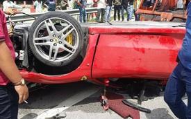 Ngay cả siêu xe gầm thấp như Ferrari F430 cũng có thể lật ngửa