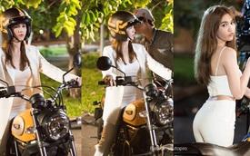 """""""Nữ hoàng nội y"""" Ngọc Trinh tập lái Ducati Scrambler"""