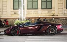 Bắt gặp Lamborghini Aventador Roadster màu cánh gián đi chơi cuối tuần