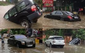 """Thủ đô Phnôm Pênh của Campuchia chìm trong biển nước, xe siêu sang và xe sang """"chết đuối"""""""