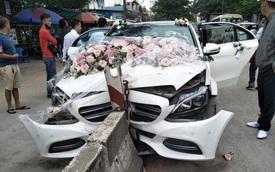 Xe cưới Mercedes-Benz đâm dải phân cách đầu tõe làm đôi, cô dâu chú rể an toàn