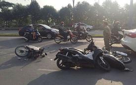 Nữ tài xế lái ô tô tông hàng loạt xe máy