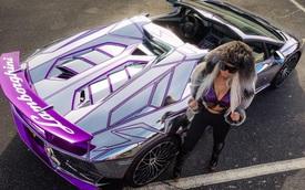 """Lamborghini Aventador SV mui trần nổi bật với """"bộ cánh"""" mạ crôm phối tím"""