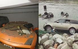 Lamborghini ngập trong nước biển, Range Rover nằm ở bờ sông sau bão Hato
