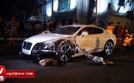 """""""Xe điên"""" Bentley đâm 3 người trọng thương tại Campuchia"""