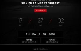 VinFast đổi giao diện website lần thứ hai, đếm ngược giờ livestream sự kiện ra mắt xe tại Paris Motor Show 2018