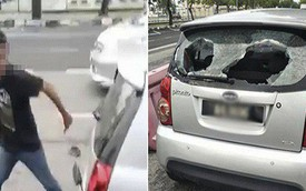 Thanh niên điên cuồng đập nát xe bà bầu sau va chạm nhỏ