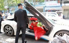 Diệp Lâm Anh lên xe hoa BMW i8 về nhà chồng