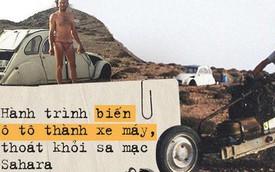 """Người đàn ông """"hô biến"""" ô tô thành xe máy để di chuyển giữa sa mạc Sahara"""