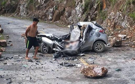 Lai Châu: Hòn đá lăn từ trên núi đè bẹp chiếc ô tô, tài xế tử vong thương tâm