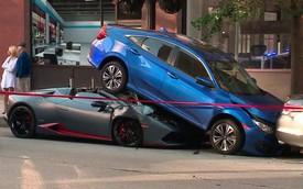 Nhầm chân ga với phanh, Lamborghini Huracan mui trần rúc gầm Honda Civic