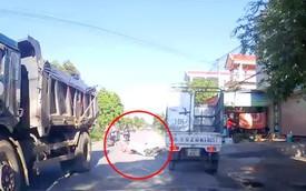 Hải Phòng: Nữ ninja mất lái ngã lăn ra trước đầu xe tải, may mắn thoát chết trong gang tấc
