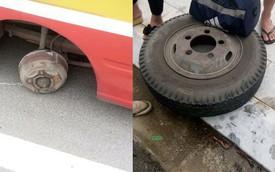 Thanh Hóa: Xe bus đang đi trên đường bất ngờ rơi luôn một bánh