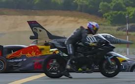 Kawasaki Ninja H2R đua drag với máy bay chiến đấu F-16, xe công thức 1 và người chiến thắng không ngờ