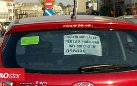 """Dòng chữ """"vợ tôi mới lái xe, nếu có làm phiền bạn hãy gọi cho tôi"""" gây sốt mạng xã hội"""
