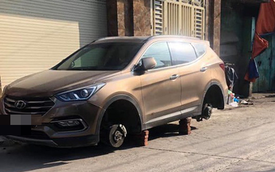 Xôn xao câu chuyện để qua đêm ngay trước cửa nhà, Hyundai Santa Fe bị kẻ gian tháo trộm hết 4 bánh