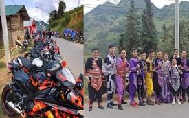 Dân chơi Lào Cai mặc trang phục dân tộc, cưỡi mô tô phân khối lớn đi đám cưới