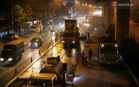 """Công nhân Hà Nội """"trắng đêm"""" cải tạo, sửa chữa trục đường Trần Phú – Quang Trung"""