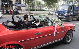 Ông Cao Thắng tự tay cầm lái Fiat 124 Sport Spider đến nhà ca sĩ Đông Nhi rước dâu