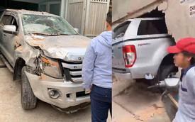 Chưa kịp đón Tết, chủ Ford Ranger tại Sài Gòn méo mặt vì đâm xuyên thủng tường nhà đối diện