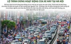 """[Infographic] Lộ trình """"khóa bánh"""" xe máy tại Hà Nội"""