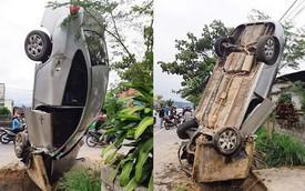 """Chiếc Hyundai Avante """"trồng cây chuối"""" đầy khó hiểu, dân mạng đau đầu đoán diễn biến trước đó"""