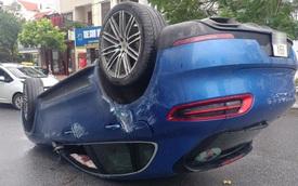 Bắc Ninh: Porsche Macan S lật ngửa ngày mưa bão