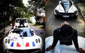 Trước đám cưới con gái, Minh 'nhựa' ngồi trên Mercedes-AMG G63 Edition One chụp hình với Pagani Huayra 80 tỷ