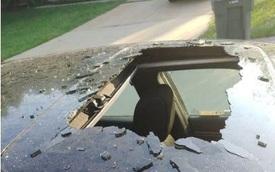 Ô tô hư hỏng nặng vì chai dầu gội trong xe phát nổ