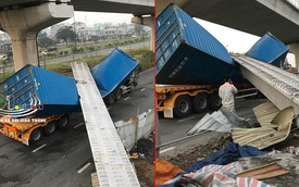 Hiện trường xe container va và kéo sập dầm bê tông cầu bộ hành