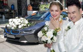 Loạt siêu xe, xe sang hùng hậu đưa dâu trong đám cưới Xemesis - Xoài Non, chú rể cầm lái xe hoa BMW i8 4 tỷ