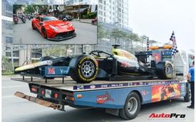 Ferrari F12 Berlinetta 'hộ tống' xe đua F1 cùng dàn mô tô diễu hành vòng quanh Thủ đô Hà Nội