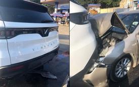 Bị đâm từ phía sau, VinFast Lux SA2.0 không hề hấn, Toyota Camry 'toác' đầu, bung túi khí
