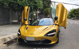 Siêu xe McLaren 720S Spider màu vàng đồng lăn bánh trên đường phố Đà Nẵng