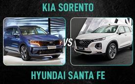 Chênh hơn 100 triệu đồng, chọn Kia Sorento 2021 bị kêu đắt hay Hyundai Santa Fe thuộc đời cũ