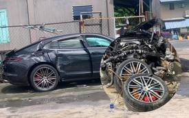 Xót xa hình ảnh Porsche Panamera Turbo bạc tỷ đầu một đằng, bánh một nẻo sau tai nạn ở Sài Gòn