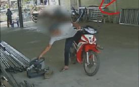 CLIP: Đỗ xe rình rập, thanh niên nhấc ngay máy cắt sắt và pha vít ga liều lĩnh