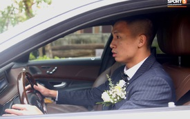 Cầu thủ Bùi Tiến Dũng tự tay cầm lái xe sang Mercedes S400 giá khoảng 4 tỷ đi đón dâu