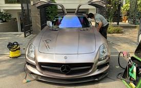 Siêu xe cánh chim Mercedes-AMG SLS lạ lẫm vừa về Việt Nam đổi màu chơi Tết nhưng bộ tem Sport mind gây tranh cãi