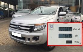 Chủ xe Ford Ranger tá hoả khi trả 1,32 triệu đồng tiền dầu, vượt sức chứa của cả bình dầu theo xe