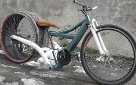 Thú vị chiếc xe đạp phiên bản cải tiến với khung xe đạp và lốp sau làm từ bánh ô tô
