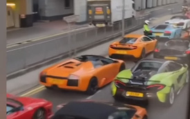 45 siêu xe định đua đường phố với quy mô chưa từng có nhưng bị cảnh sát chặn đứng