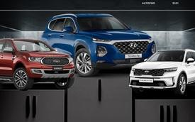 Hyundai Santa Fe dẫn đầu phân khúc SUV 7 chỗ tháng 4/2021, Ford Everest bám sát với cách biệt ít ỏi