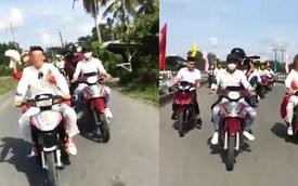 Vĩnh Long: Chú rể tổ chức rước vợ bằng 15 xe máy chạy dàn hàng ngang, nẹt pô, rú ga