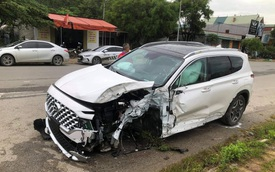 Hyundai Santa Fe 2021 thứ 2 gặp nạn: Rụng bánh trước, túi khí rèm đã bung