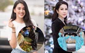 'Soi' xe sao Việt dùng đi cứu trợ: Diệp Lâm Anh trưng dụng Audi Q8, 'Mẹc' GLC nhưng Hoa hậu Tiểu Vy chỉ chạy xe máy để phát gạo cho tiện