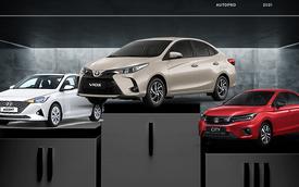 Sụt giảm doanh số mạnh nhưng Toyota Vios vẫn bán hơn Hyundai Accent và Honda City cộng lại