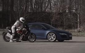 Audi R8 V10 Plus đua tốc độ với Ducati Diavel